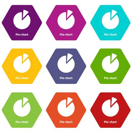 Pie chart icons 9 set colorful isolated on white for web.