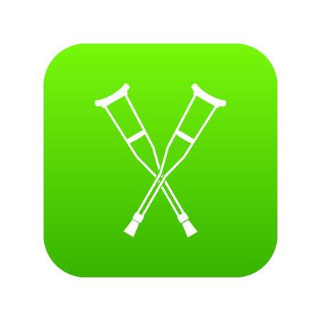 Crutches icon digital green for any design isolated on white vector illustration. Banque d'images - 100512491