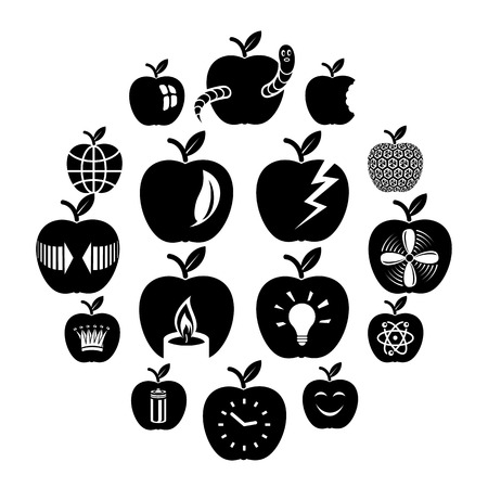 Apple icon icons set. Simple illustration of 16 apple icon vector icons for web.