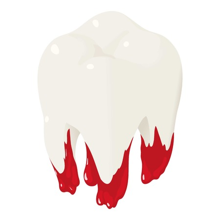 Bloody tooth icon. Isometric of bloody tooth vector icon for web design isolated on white background Illustration