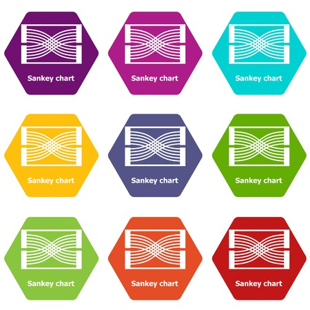 Sankey chart icons 9 set coloful isolated on white for web