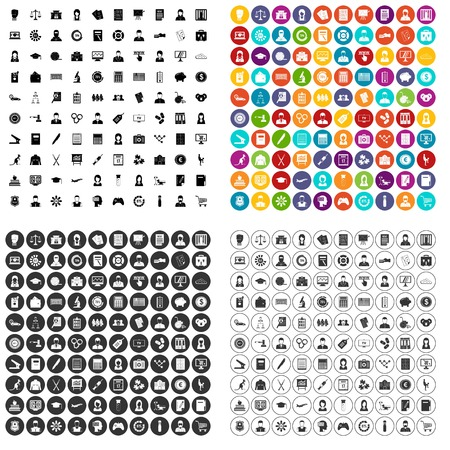 100 statistic data icons set vector in 4 variant for any web design isolated on white background. Stock Illustratie