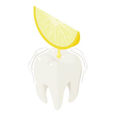 Lemon juice on tooth icon.