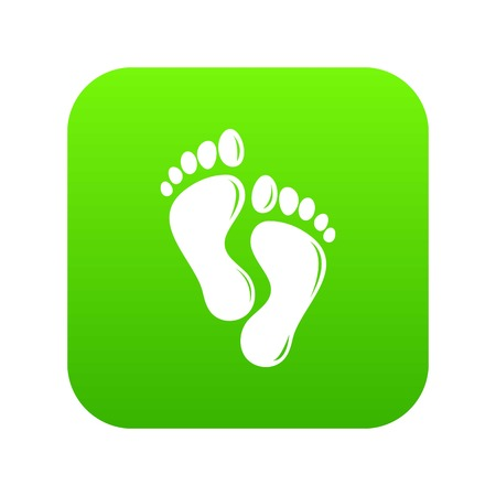 Footprints icon green vector isolated on white background Illustration