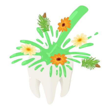 Herbal water on tooth icon. Isometric of herbal water on tooth vector icon for web design isolated on white background