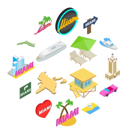 Miami icons set in isometric 3d style isolated on white background Vettoriali