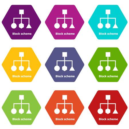 Block scheme icons 9 set coloful isolated on white for web