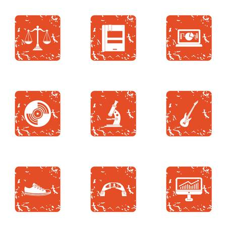 Scientific workshop icons set. Grunge set of 9 scientific workshop vector icons for web isolated on white background  イラスト・ベクター素材