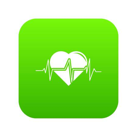 Heart pulse icon green vector isolated on white background