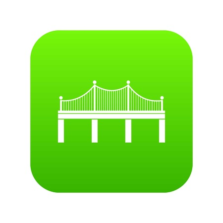 Bridge icon digital green for any design isolated on white vector illustration