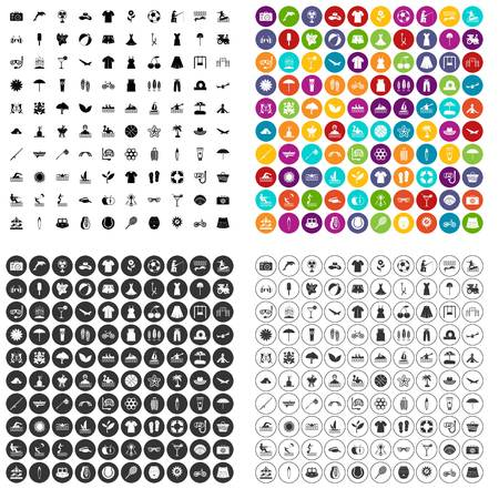100 summer icons set vector in 4 variant for any web design isolated on white Illustration