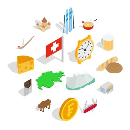 Switzerland icons set in isometric 3d style isolated on white background Illustration