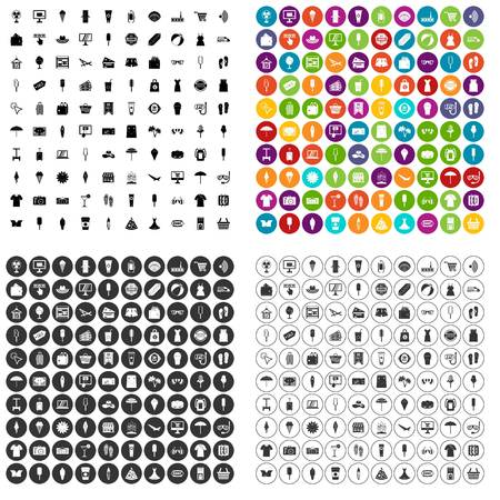 100 summer shopping icons set vector in 4 variant for any web design isolated on white