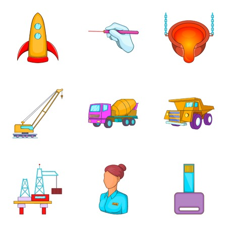 Working method icons set. Cartoon set of 9 working method vector icons for web isolated on white background Stock Illustratie