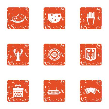 Provision icons set. Grunge set of 9 provision vector icons for web isolated on white background