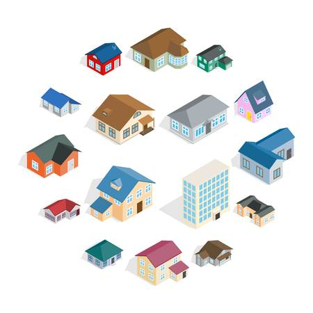 Maison de ville cottage et icônes de construction immobilière assorties dans un style 3d isométrique Vecteurs