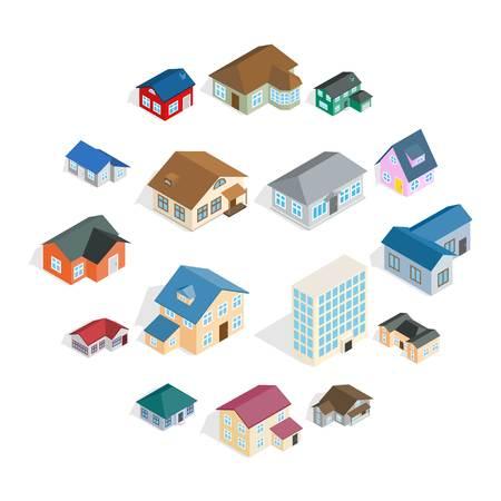 Stadthaus-Häuschen und verschiedene Immobiliengebäudeikonen, die im isometrischen 3D-Stil gesetzt werden Vektorgrafik