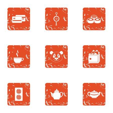 Tea daytime icons set. Grunge set of 9 tea daytime vector icons for web isolated on white background