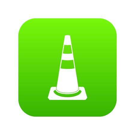 Traffic cone icon digital green for any design isolated on white vector illustration