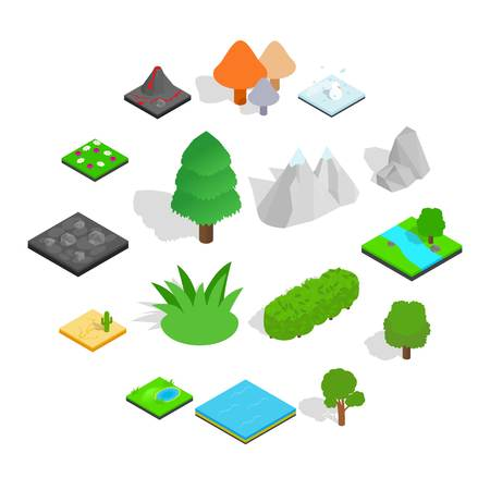 Landscape icons set in isometric 3d style isolated on white background Illustration