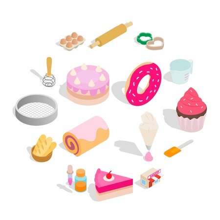 Bakery set icons in isometric 3d style isolated on white background