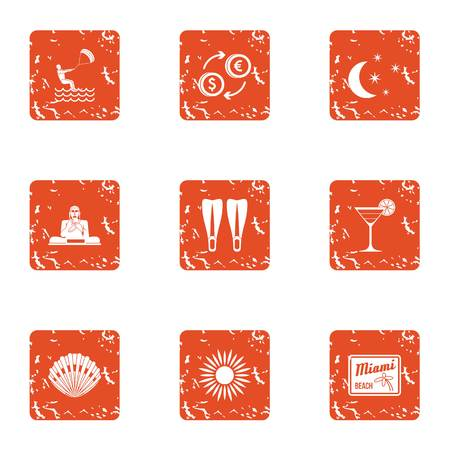 Set of leisure concept grunge icons for web isolated on white background