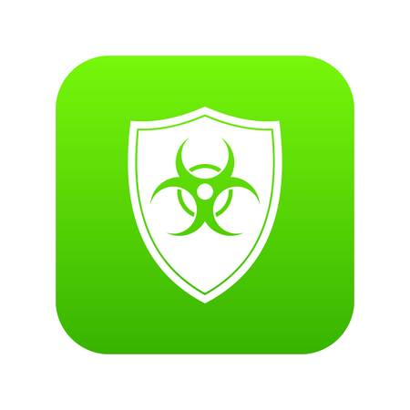 Shield with a biohazard sign icon digital green for any design isolated on white vector illustration