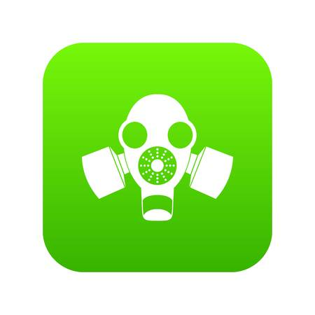 Black gas mask icon digital green for any design isolated on white vector illustration Illustration
