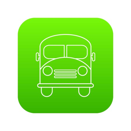 School bus icon green vector isolated on white background