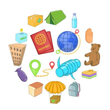 Refugees icons set. Cartoon illustration of refugees vector icons for web Vectores