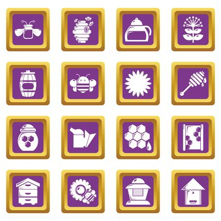 Apiary honey icons set vector purple square isolated on white background Illustration