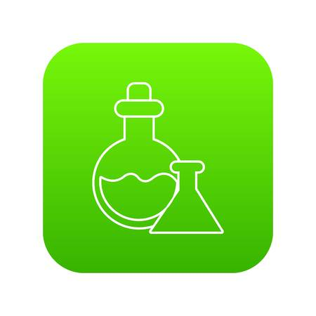 Flask icon green vector isolated on white background