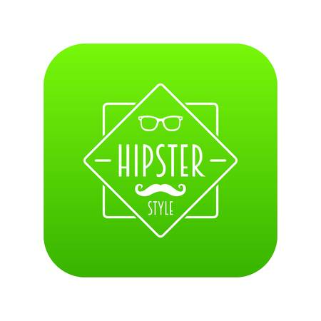 Men hipster style icon green vector isolated on white background