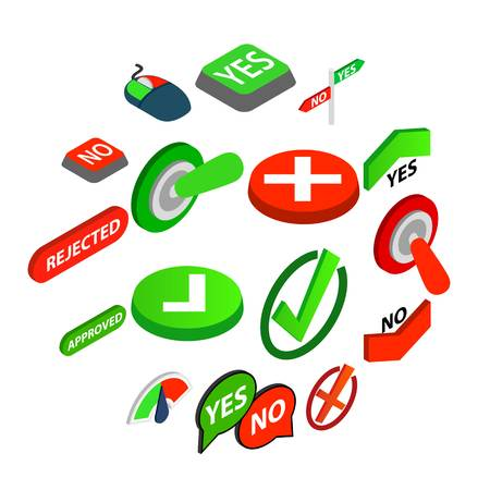 Yes or No icons set in isometric 3d style isolated vector illustration