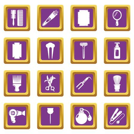 Hairdresser icons set vector purple square isolated on white background Illustration