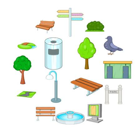Park icons set. Cartoon illustration of 16 park vector icons for web