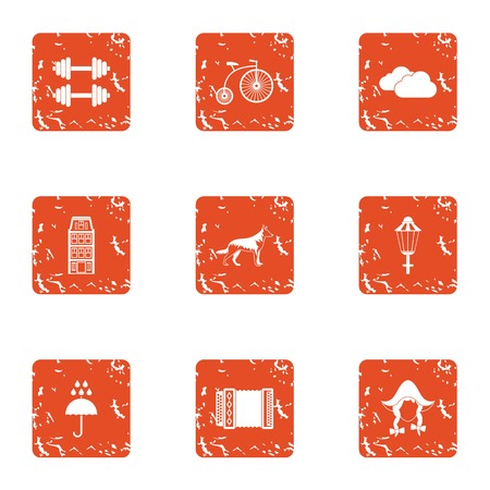 German care icons set. Grunge set of 9 german care vector icons for web isolated on white background