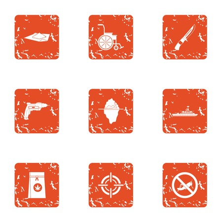Consequence of war icons set. Grunge set of 9 consequence of war vector icons for web isolated on white background