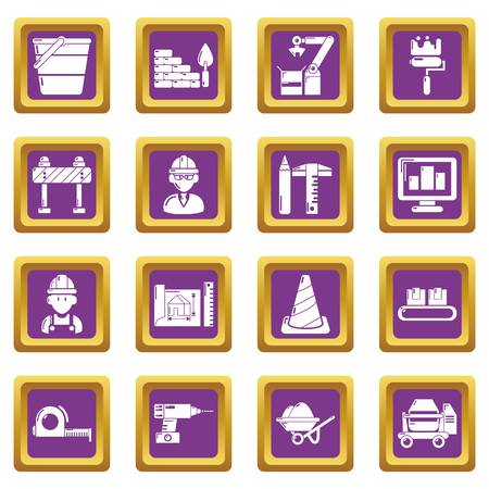 Building process icons set vector purple square isolated on white background  Illustration