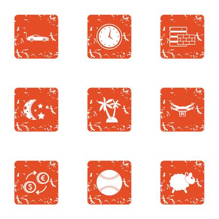 Travel manual icons set. Grunge set of 9 travel manual vector icons for web isolated on white background