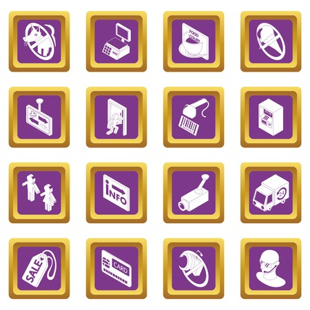 Shop navigation foods icons set vector purple square isolated on white background