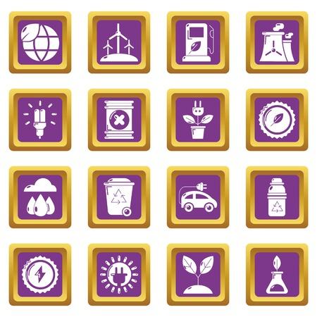 Ecology icons set vector purple square isolated on white background