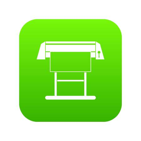 Large format inkjet printer icon digital green for any design isolated on white vector illustration