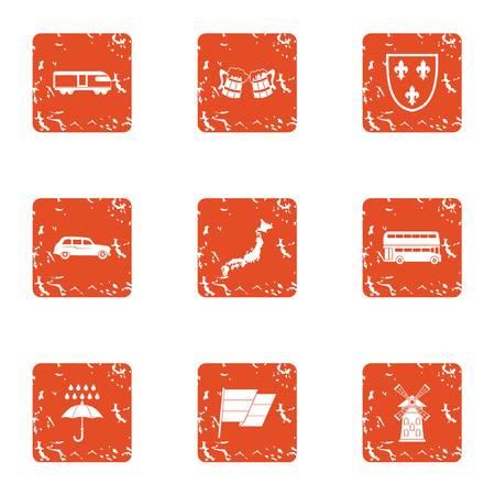 Modern icons set. Grunge set of modern vector icons for web isolated on white background Illustration