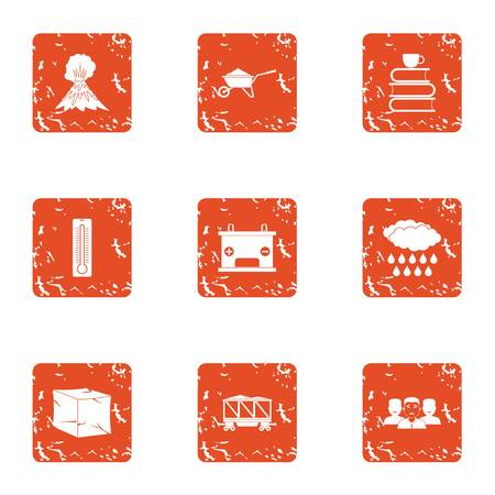 Air place icons set. Grunge set of 9 air placee vector icons for web isolated on white background Stock Illustratie