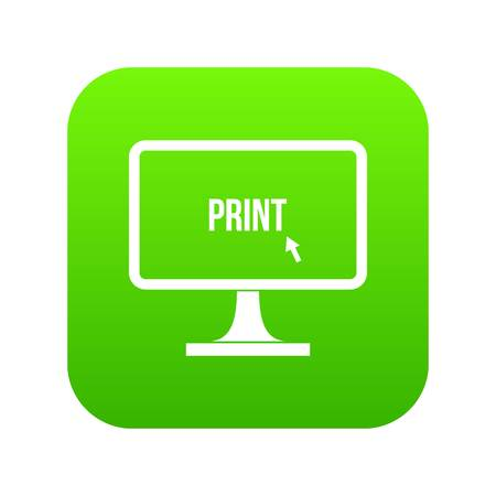 Print word on a computer monitor icon digital green for any design isolated on white vector illustration Illustration
