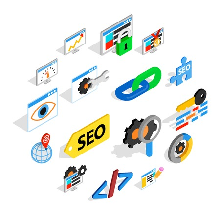 SEO icons set in isometric 3d style. Web set collection isolated vector illustration Illustration