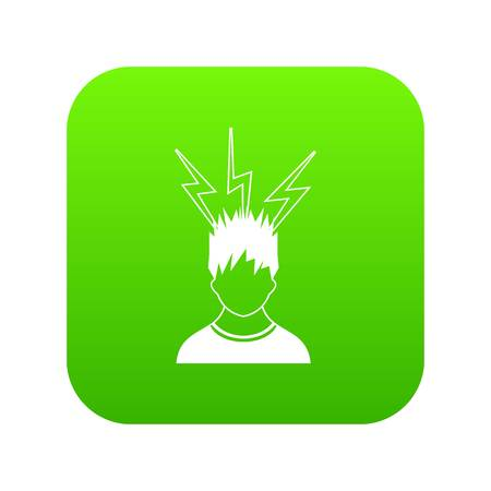 Lightning above the head of man icon digital green for any design isolated on white vector illustration Ilustrace