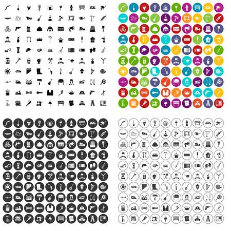 100 tools icons set vector in 4 variant for any web design isolated on white