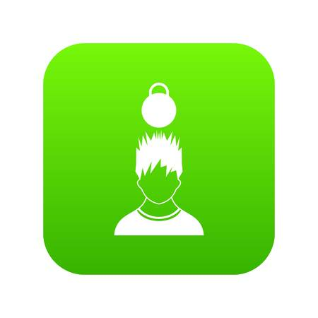 Man with the weight over head icon digital green for any design isolated on white vector illustration
